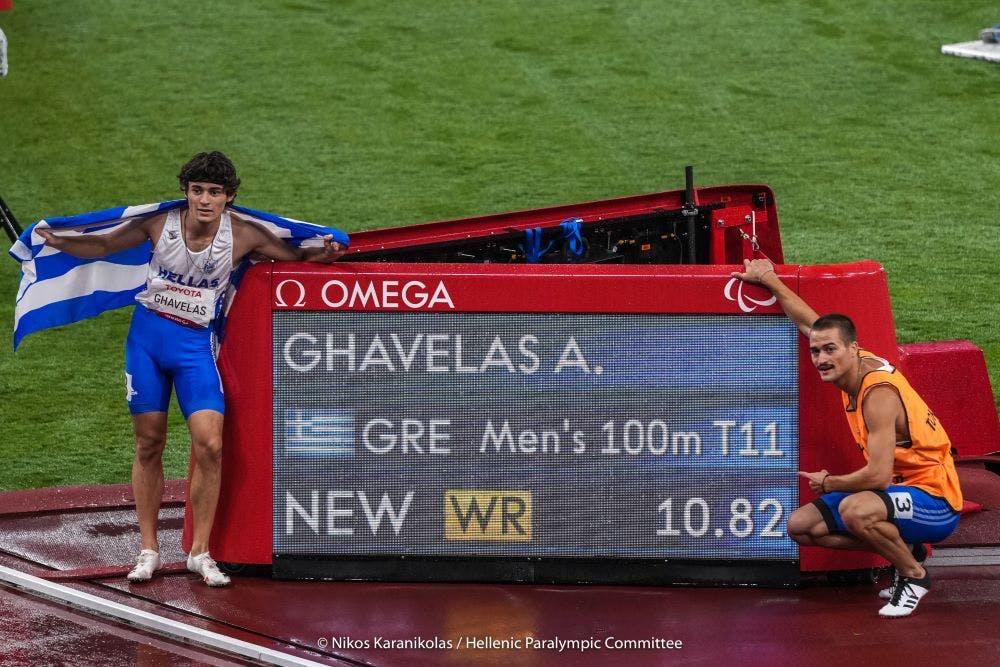 Χρυσό μετάλλιο με παγκόσμιο ρεκόρ από τους Γκαβέλα-Γκαραγκάνη στα 100μ. Τ11